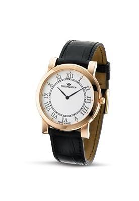 Philip Watch R8251193145 - Reloj analógico de cuarzo para hombre, correa de cuero color negro de Philip Watch