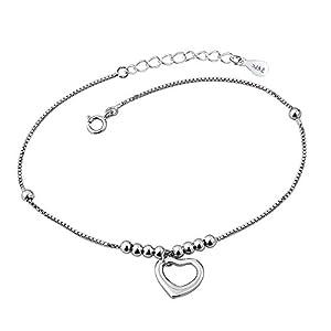 Isajewelry Damen-Fußkettchen, Sterlingsilber, Herz-Anhänger, verstellbar