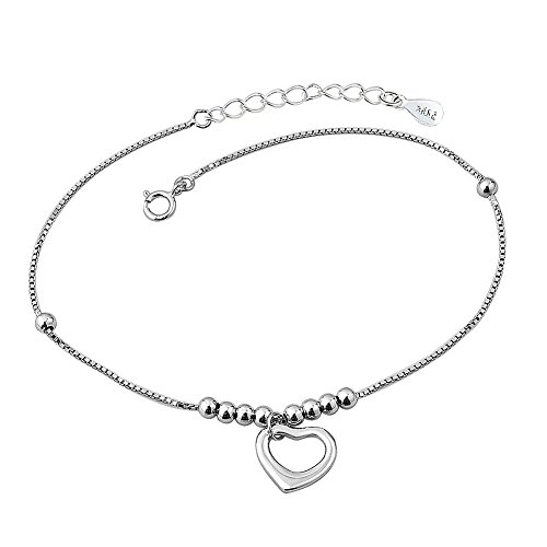 Isajewelry Sterling Silver Heart Ankle Chain Bracelets Adjustable Love Anklet Jewellery For Women