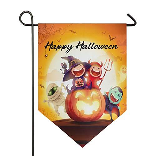 Kostüm Präsentieren Kind - Oarencol Halloween-Kostüm für Kinder, Kürbis-Mondlicht, Gartenflagge, doppelseitig, Dekoration für Zuhause, 31,8 x 45,7 cm, Polyester, Multi, 12.5 x 18 inch