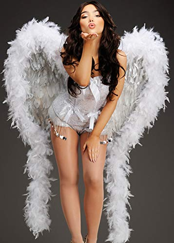 Showgirl Kostüm Weiß - Magic Box Int. Deluxe weiße und Silberne Diamante Feather Showgirl Wings