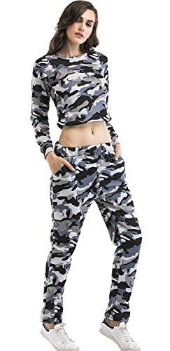 SZIVYSHI 2 Pezzi Militare Camo Camuffare Jogger Jogging Fitness Sweatshirt Felpa corti corto Crop Superiore Top Pantaloni della tuta Tuta da Ginnastica Sportiva Esercito Grigio