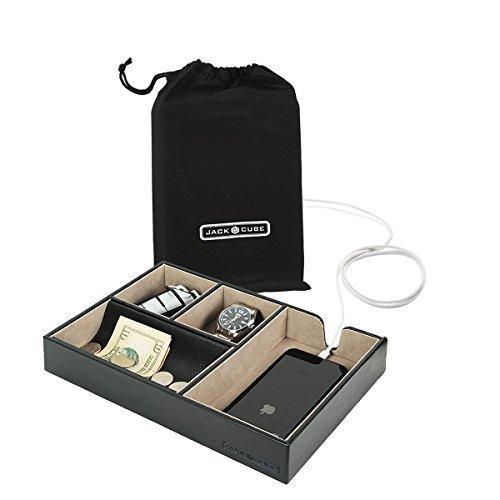 JackCubeDesign Valet Tray Multi Leder, Schreibtisch oder Kommode Organizer, Catch-All für Schlüssel, Telefon, Brieftasche, Münze, Schmuck und Nachttisch (Schwarz, 27 x 18,3 x 4,8 cm) -: MK233A