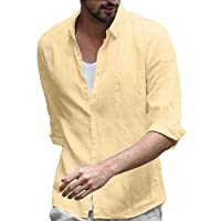 GAGA Mens Casual Relaxed Fit Cotton Linen Button Down Long Sleeve Tops Shirt Khaki M