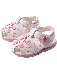 Koly Prewalker Zapatos, primeros pasos para bebé-niñas, sandalias de flor (13CM, Blanco)