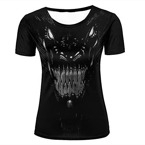 Womens 3D Printed T-Shirts Bare Teeth Monster Dark Graphic Creative Novelty Short Sleeve Tops Tees XL (Volcom-zeichen)