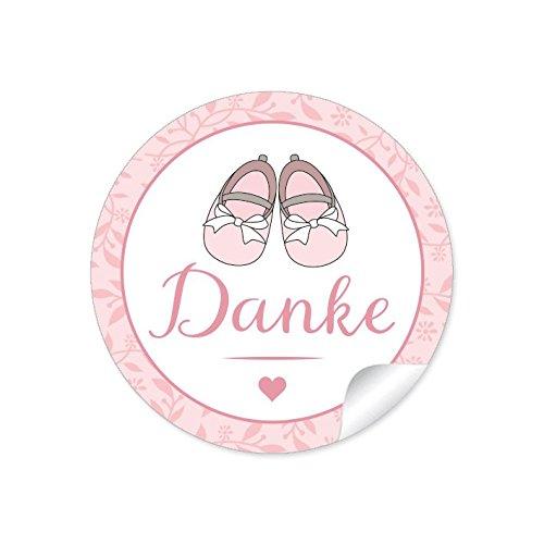 """24 STICKER:""""Danke"""" 24 Etiketten mit Babyschühchen für ein Mädchen in rosa • Zur Danksagung für Gastgeschenke oder Tischdeko zur Taufe, Geburt • Papieraufkleber/Etiketten: 4 cm, rund, matt"""