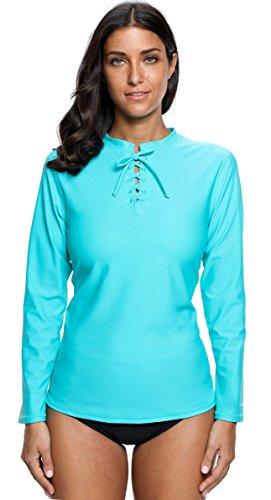 ALove Damen Rash Guard Langarm UV-Shirt Lace Up UV Kleidung UV-Schutz (UPF) 50+ Türkis M