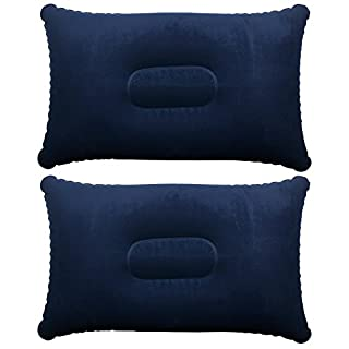 TRIXES Inflatable Pillow For Travel or Camping - Blow up Pillow- Blue Twin Pack