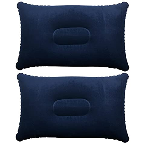 TRIXES 2 x Blue Inflatable Pillow Camping Travel Soft
