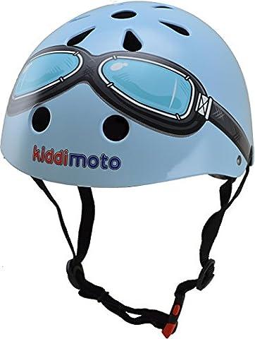 kiddimoto 2kmh007s - Design Sport Helm Goggle, Pilot S für Kopfumfang 48-53 cm, 2-5 Jahre, blau