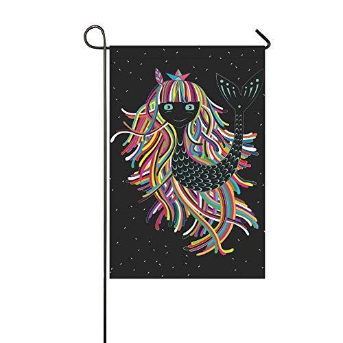 Home Dekorative Outdoor Doppelseitige Nette Kind Sirene Bunte Haare Garten Flagge, haus Hof Flagge, garten Hof Dekorationen, saisonale Willkommen Outdoor Flagge 12 X 18 Zoll Frühling Sommer Geschenk (Sirene Net)