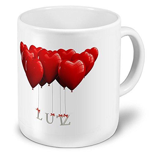 """XXL Riesen-Tasse mit Namen \""""Lutz\"""" - Jumbotasse mit Design Herzballons - Namens-Tasse, Kaffeebecher, Becher, Mug"""