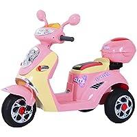 Homcom Coche Triciclo Moto Eléctrica Infantil Correpasillos a Batería Niños 3-8 años Niños 3-8 años 6V Metal + PP 108x51x75cm Rosa