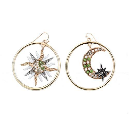BöHmische Metallsterne Mond Sun Diamant Geometrie Ohrringe Damen Schmuck (Ring Karma Diamant Mit)