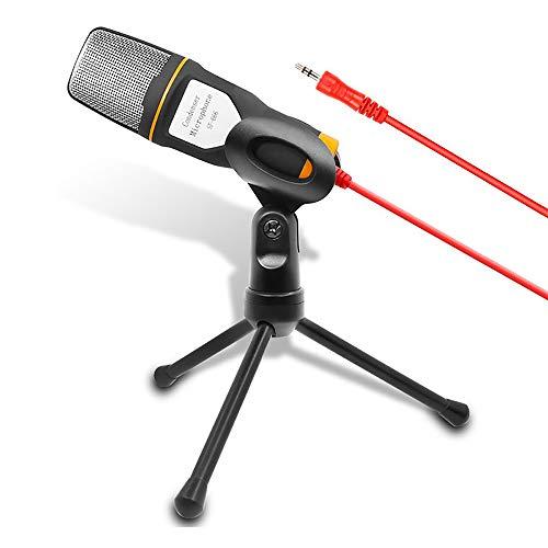 Professionelles Mini-Mikrofon für den Cardioid-Kondensator mit Stativ-Ständer 3,5-mm-Klinken-Desktop für PC, Laptop, iPhone, iPad, Android-Handys, Tablets, xBox und YouTube-Aufnahme von ZaxSound,Black