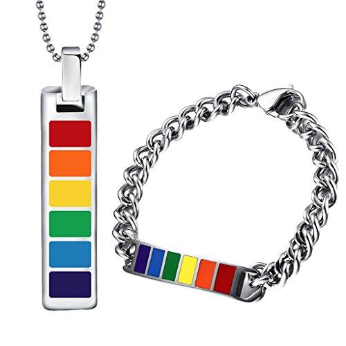 Gazechimp Pulsera + Collar Colgante Arcoiris Gay Lesbiana LGBT Pride Joyería de Moda