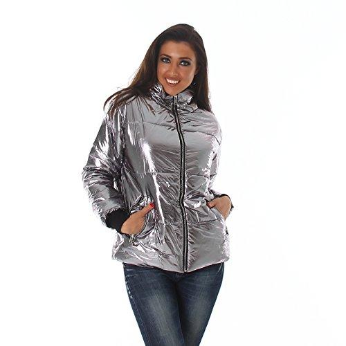 Voyelles Damen Übergangs-Jacke Steppjacke mit Stehkragen Herbst Winter S-M-L in 3 Farben Silber