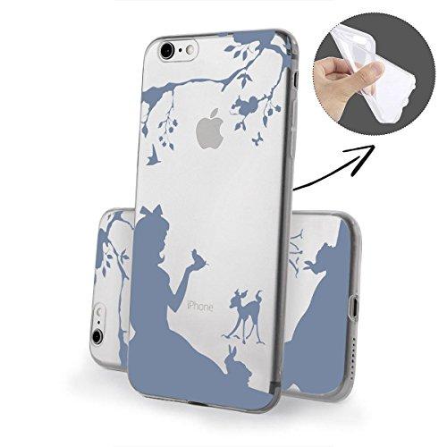 finoo   iPhone 6 und 6S Weiche flexible Silikon-Handy-Hülle   Transparente TPU Cover Schale mit Motiv   Tasche Case Etui mit Ultra Slim Rundum-schutz   Queen Mädchen im Wald