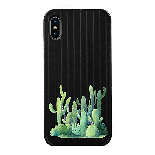 AIsoar Kompatibel mit iPhone X/iPhone XS, iPhoneX/iPhoneXs, Koffer, Gepäck, Streifenmuster, schwarzes Muster, weiche Rückseite, stoßfest, Schutzhülle für Damen und Herren Cactus