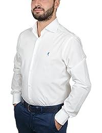 """DOMENICO AMMENDOLA, Camicia da Uomo """"Gold"""" bianca, Cotone 100%, Regular fit, collo francese largo, Made in Italy"""