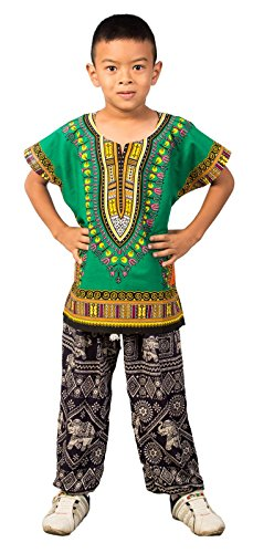 Lofbaz Niños tradicional de impresión de África Camisa Dashiki Verde Unisex - S