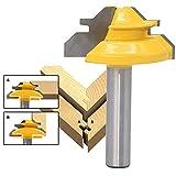 99native 8mm 45 Grad Schaft Lock Mitre Router Bit Wolfram Holzbearbeitung Cutter Tool,Zunge Groove Router Bit-Set T Form Holz Fräser Schaft holzbearbeitungswerkzeuge (Gelb)