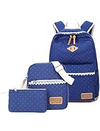 Set de mochilas de tela para el colegio de Humefor, mochila casual + bolso bandolera + estuche,juego de 3 bolsas para niñas y adolescentes, deep blue