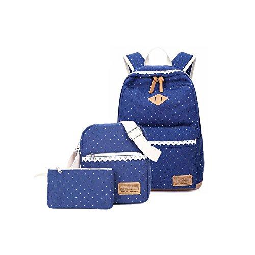 Humefor Canvas Backpack School Bags Set,Casual Daypack + Shoulder Bag + Pencil Case 3 Bags Set for Teenage Girls Children (deep blue)