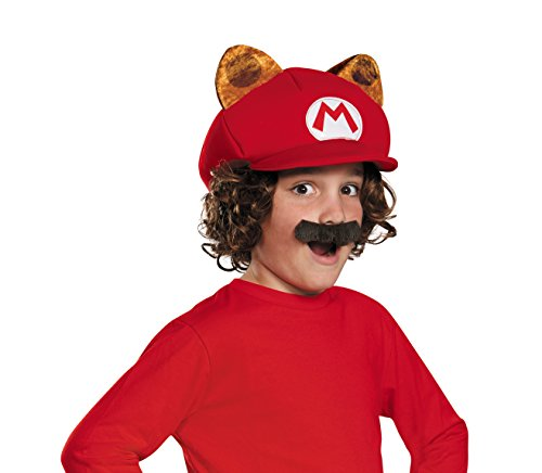 Disguise Racoon Super Mario Bros. Nintendo Child Hat & Mustache, One Size Child, One Color