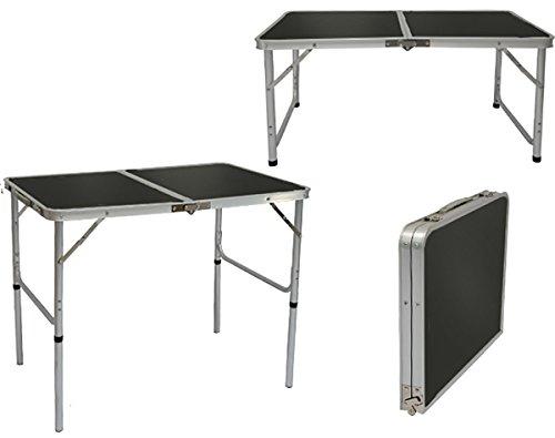 AMANKA klappbarer höhenverstellbarer Campingtisch 90x60x70 cm Leichtgewicht Klapptisch Reisetisch im Kofferformat Dunkel-Grau