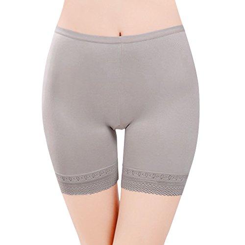Damen Unterwäsche Slip Unterhosen Sicherheits Shorts Unterwäsche Kurz Leggings Panties Softe Spitze Hipster Pantys, Grau,  -