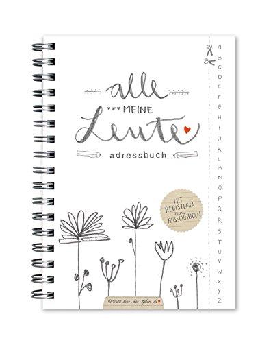 """Adressbuch """"Alle meine Leute"""" im floralen Design, Weiß mit Blumen, flexible Einteilung mit Register zum Ausschneiden, A6"""