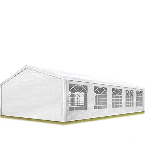 TOOLPORT Partyzelt Pavillon 5x10 m in weiß 180 g/m² PE Plane Wasserdicht UV Schutz Festzelt Gartenzelt