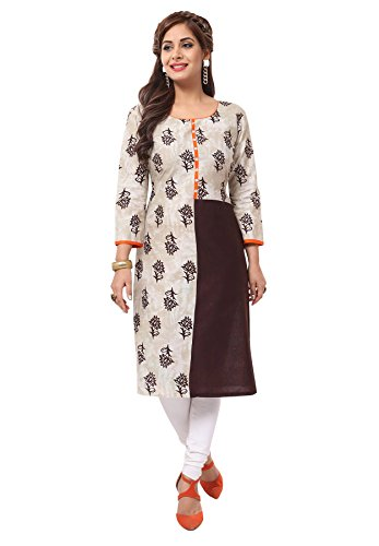 Salwar Studio Women's Beige & Brown Cotton Floral Printed Unstitched Kurti Fabric (only Kurti Fabric)  available at amazon for Rs.475