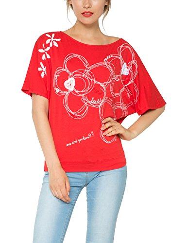 Desigual Parla - T-shirt - Imprimé - Manches courtes - Femme Rouge (Rojo Roja)