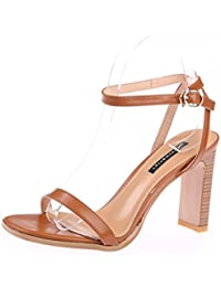 KPHY-Roma Shoes Verano Retro Los Dedos De Los Pies Rough Heels 9Cm Zapatos  De Tacon Alto Hollow Hebillas Sandalias.Treinta Y Cuatro… 440ee4f73490