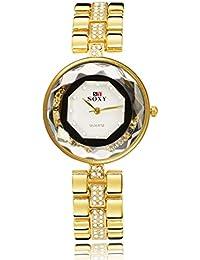 NICERIO Mujer reloj de pulsera de aleación de cristal de cuarzo reloj para las mujeres (oro con caja negra)