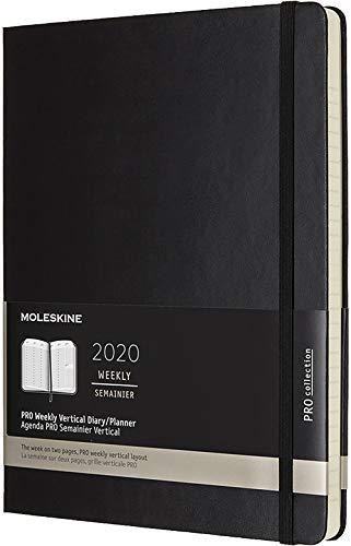 Moleskine, Agenda 12 Mesi Settimanale 2020, Copertina Rigida e Chiusura ad Elastico, Colore Nero, Dimensione Extra Large 19 x 25 cm, 288 Pagine
