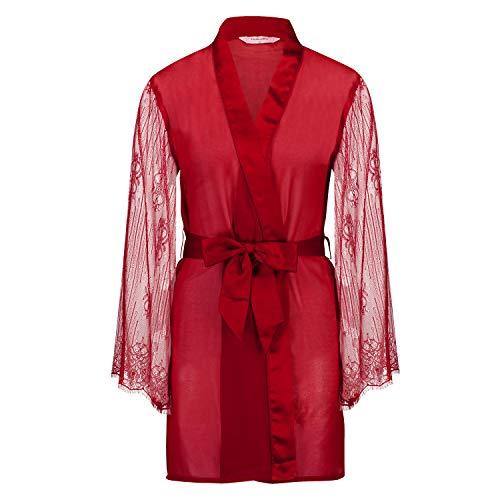 Hunkemöller Damen Kimono Chiffon Fine Lace M/L, Chili Pepper
