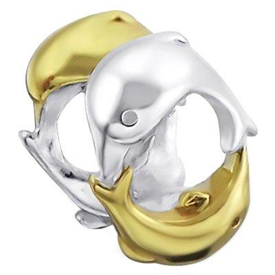 So Chic Gioielli - Charm 2 Delfini Salto Cerchio Placcato Oro & Argento Sterling 925/000 - Compatible con Pandora, Trollbeads, Chamilia, Biagi - Placcato Ciondolo Delfino