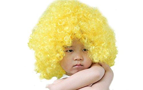 Kostüm Bunt Lockig Afro Clown Perücke Party Perücke Zubehör Gelb (Lockige Clown Perücke Gelb)