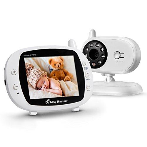 Powerextra Vigilabebé Bebé Monitor Inteligente con LCD 3.5' Cámara Visión Nocturna Cámara Vigilancia Bebé Temperatura Diálogo Canción de cuna Color Blanco