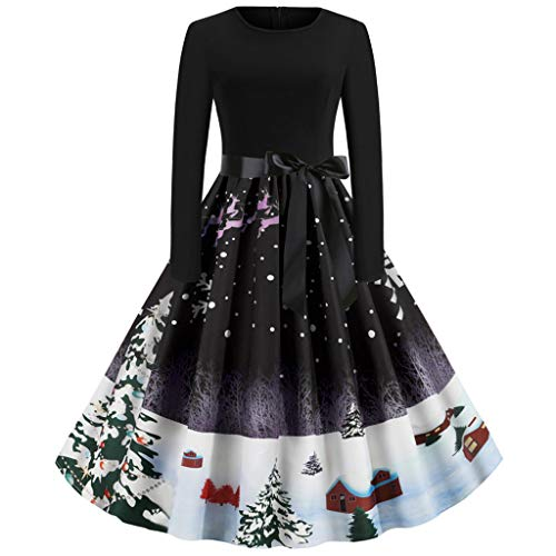 Xuthuly Frauen Retro Xmas Print A-Line Weihnachtsfeier Kleid Damen Sweet Long Sleeve Plissee Swing Abend Abendkleid
