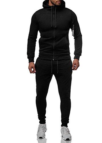 Violento Herren Sportanzug Basic Squad Anzug Jogginganzug Jacke Hose Schwarz XL