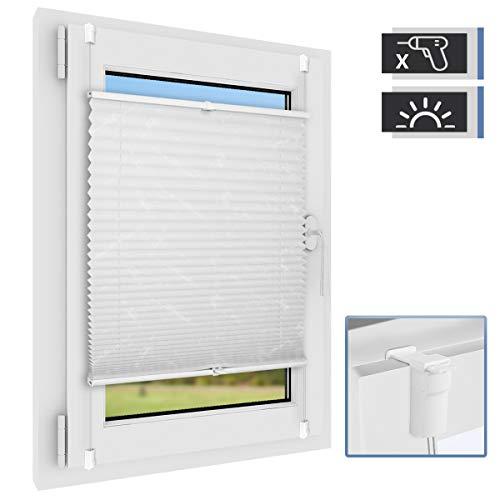 BelleMax Plissee ohne Bohren klemmfix Jalousie Blickdicht Faltrollo Sichtschutz und Sonnenschutz Schalosien für Fenster & Tür Weiß 70 x 100 cm(BxH)