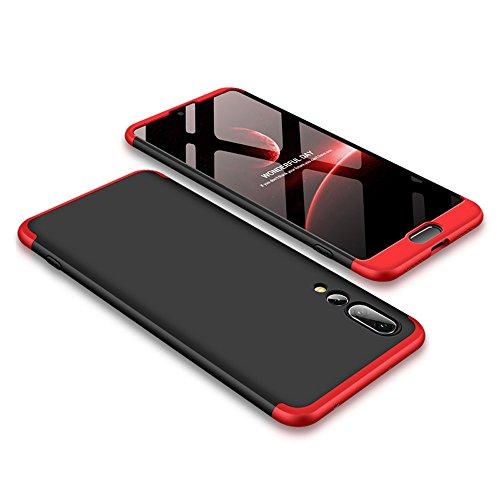 Funda para Huawei P20 Pro, Bigcousin Funda 360 grados Protección Ultra Slim Cubierta PC Hard Case + Cristal Templado ,3 in 1 Carcasa Case Cover para Huawei P20 Pro - Rojo+Negro