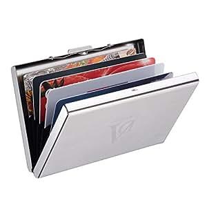 Adorner Porta Biglietti da Vista Portafoglio RFID Blocco in Acciaio INOX Porta Carte di Credito, Fatture, Carte Bancarie, Banconote di Piccola Denominazione (6 Scomparti)