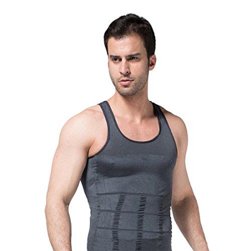 Encounter Herren Shapewear Unterhemd Tank Top Sport Shirt Body Shaper ärmellos Weste Achselshirt Funktionswäsche Bauchweg (XL, Grau)