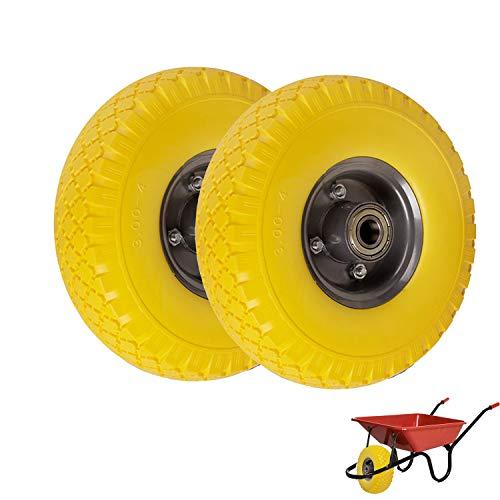 2X rueda de carretilla (260 mm Cochecitos de neumáticos goma rueda de repuesto 3.00 - 4 antipinchazos Amarillo